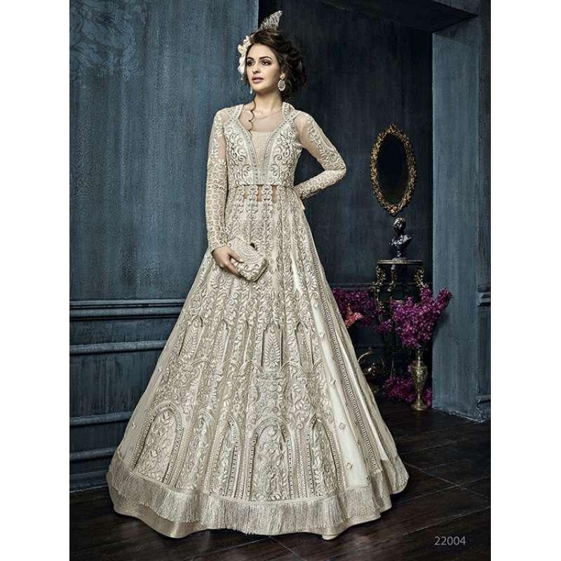 22004 WHITE ZOYA CELEBRITY HEAVY EMBROIDERED INDIAN BRIDAL