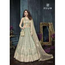 22002-D GREEN ZOYA CELEBRITY HEAVY EMBROIDERED INDIAN BRIDAL WEDDING LEHENGA