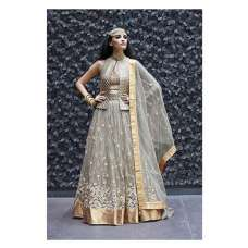 16003-D SILVER ZOYA CRYSTAL WEDDING WEAR LEHENGA (five piece suit)