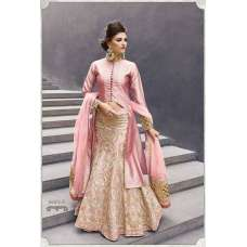 16007-A MELLOW ROSE PINK ZOYA CRYSTAL WEDDING WEAR LEHENGA