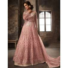 Rose Pink Detailed Embroidered Bridal Gown