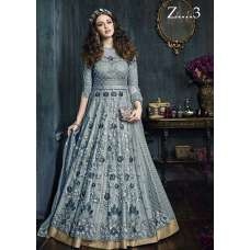 22001-B GREY HEAVY EMBROIDERED INDIAN BRIDAL WEDDING LEHENGA