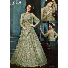 22003-C GREEN HEAVY EMBROIDERED INDIAN BRIDAL WEDDING LEHENGA