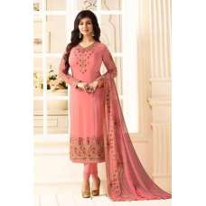 BABY PINK EMBROIDERED PARTY WEAR INDIAN BOLLYWOOD STYLE SALWAR SUIT
